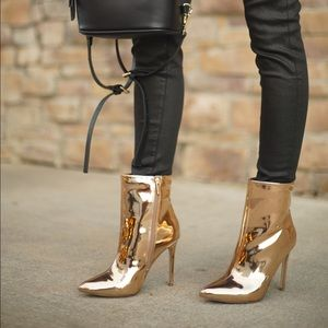 Rose Gold metallic ankle boots booties